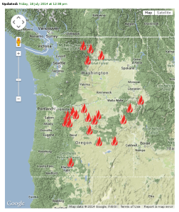 Lots of fires, none near Spokane