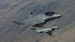 F-35 and F-16 strike a pose for the photographers