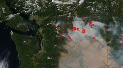 Red areas are active fires