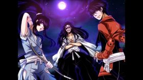 L to R we have: Shimazu Toyohisa, the protagonist, Oda Nobunaga, the famous pirate, and Nasu no Yoichi, the trap
